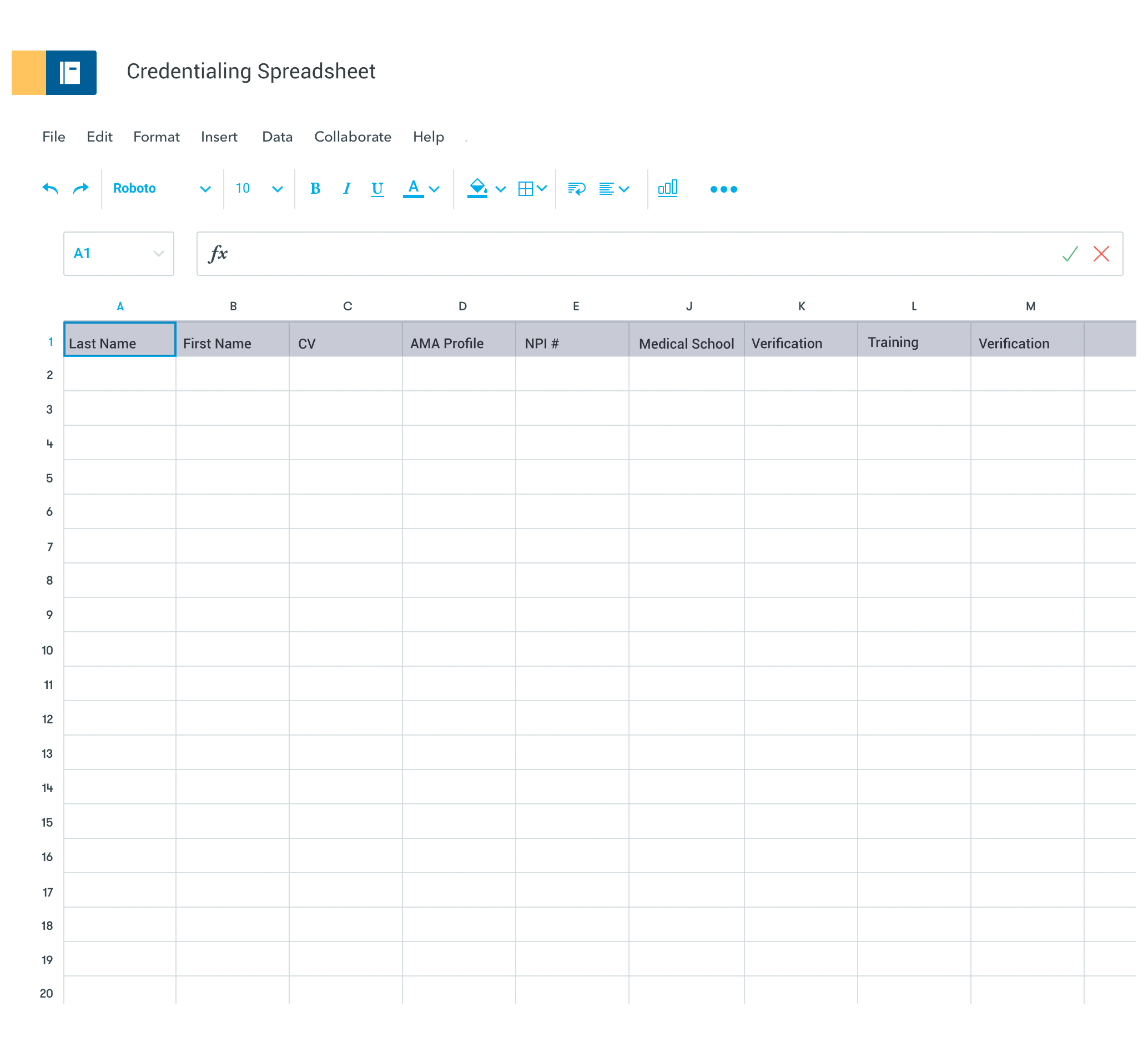 credentialing spreadsheet template